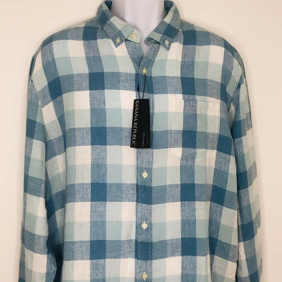 NWT Banana Republic 100% Linen Plaid Shirt Men's